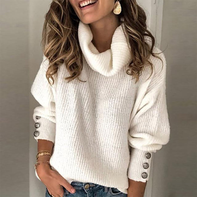 Plus Size Long Sleeve Plain Casual Sweater Women's Turtleneck Street Tops Pullover Warm Knitted