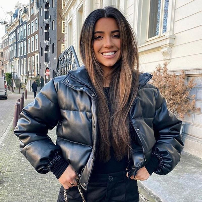 Leather Puffer Shorty Jacket