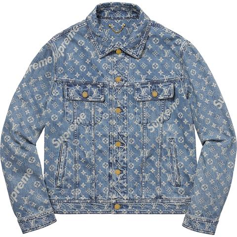 Supreme x Louis Vuitton Jacquard Denim Trucker Jacket Blue