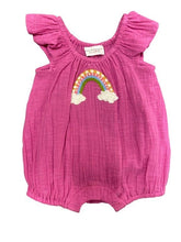 Load image into Gallery viewer, Mimi and Maggie Pink Rainbow Wishes Romper