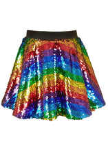 Load image into Gallery viewer, Hannah Banana Rainbow Stripe Sequin Skater Skirt