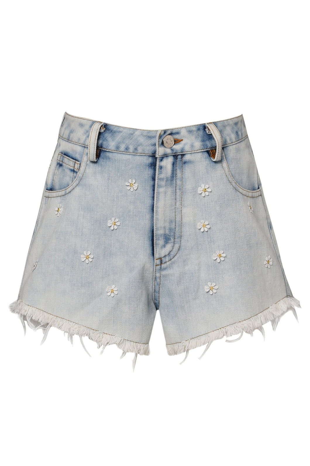 Hannah Banana Daisy Vintage Wash Denim Shorts