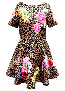 Hannah Banana Leopard and Floral Print Skater Dress