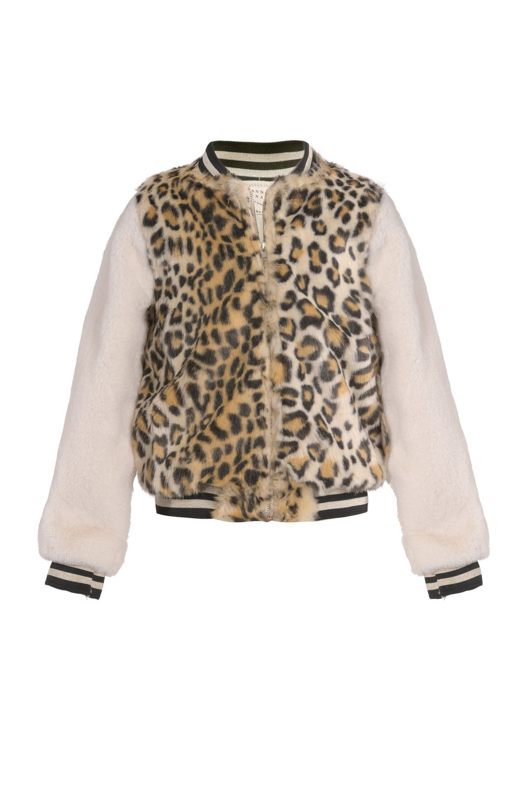 Hannah Banana Animal Print Faux Fur Bomber Jacket