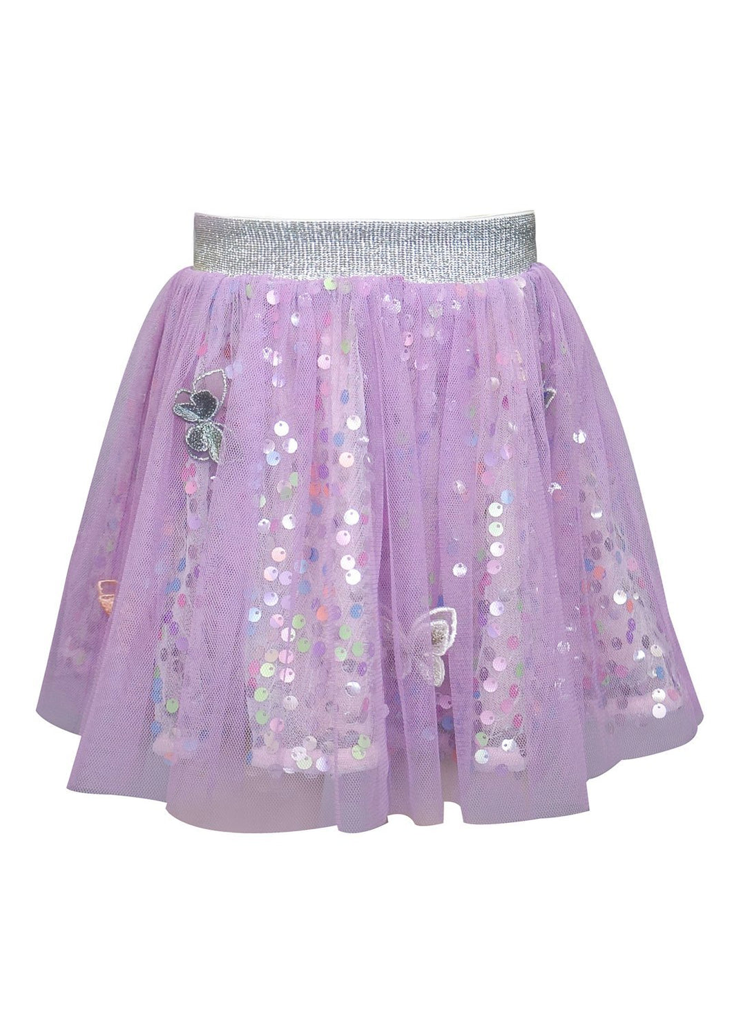 Baby Sara Butterfly Sequin & Mesh Skirt