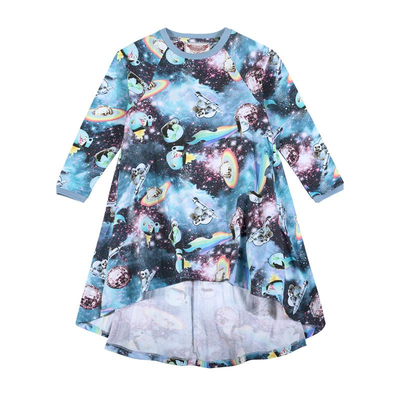 Paper Wings Hi Lo Raglan Dress - Girls in Space