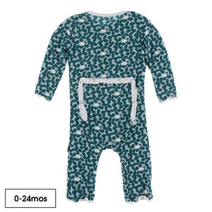 KicKee Pants Fish & Wildlife Ruffle Zip  Coverall in Jade Running Buffalo Clover