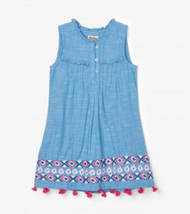 Hatley Chambray Floral Pin Tuck Dress