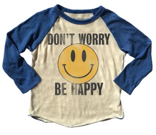 Load image into Gallery viewer, Rowdy Sprout Don't Worry Be Happy Raglan Tee