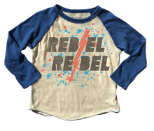 "Load image into Gallery viewer, Rowdy Sprout David Bowie ""Rebel Rebel"" Raglan Tee"