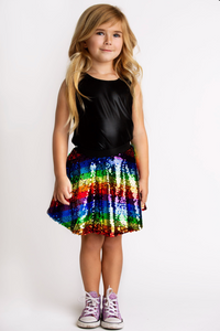 Hannah Banana Rainbow Stripe Sequin Skater Skirt