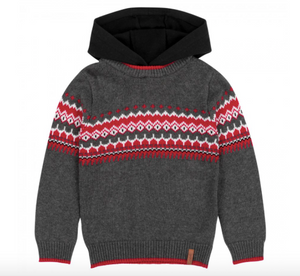 Deux par Deux Knitted Sweater Hooded Top