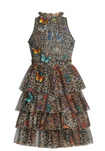 Hannah Banana Animal Print & Butterfly Tiered Mesh Party Dress