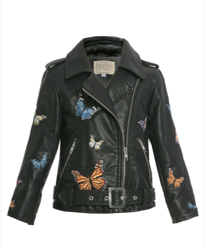 Hannah Banana Faux Leather Butterfly Moto Jacket
