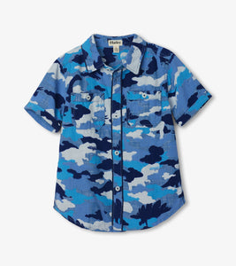 Hatley Dino Camo Short Sleeve Button Down Shirt