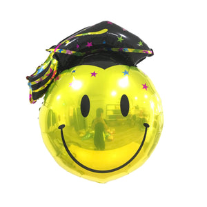 "24"" GRADUATION FOIL - SMILEY W BLACK ACADEMIC HAT"