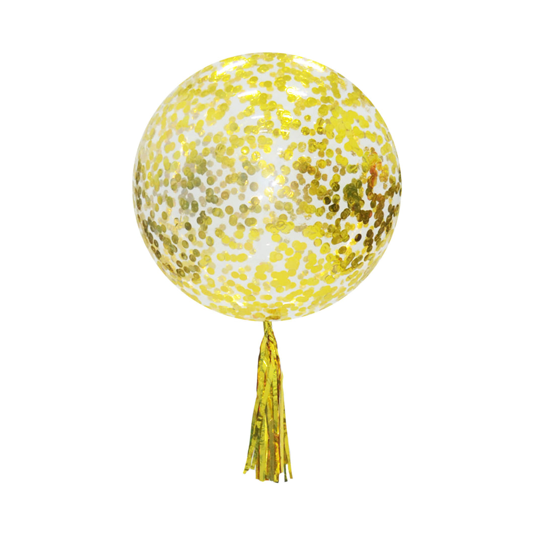 24 INCH BUBBLE BALLOON FILLED w GOLD CONFETTI