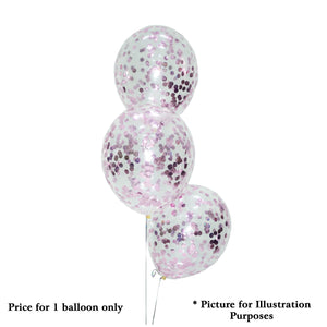 "12"" HELIUM FILLED DIAMOND CLEAR BALLOON w PINK CONFETTI"