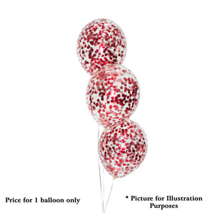 "12"" HELIUM FILLED DIAMOND CLEAR BALLOON w RED CONFETTI"