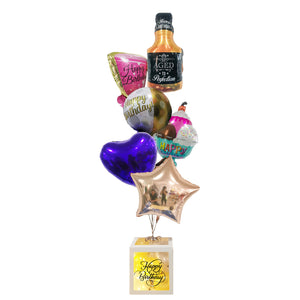 JUMBO HAPPY BIRTHDAY BOX BOUQUET - WHISKY & GLASS