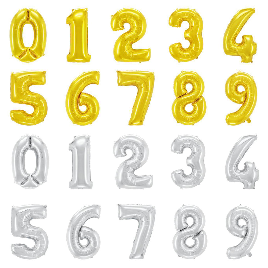 40 INCH NUMBERS BALLOONS - SILVER & GOLD