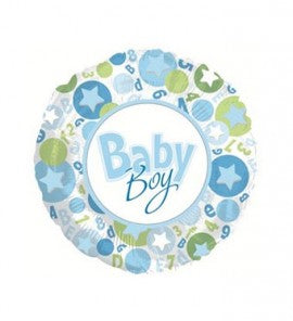"18"" BABY BOY STAR IN CIRCLE FOIL"