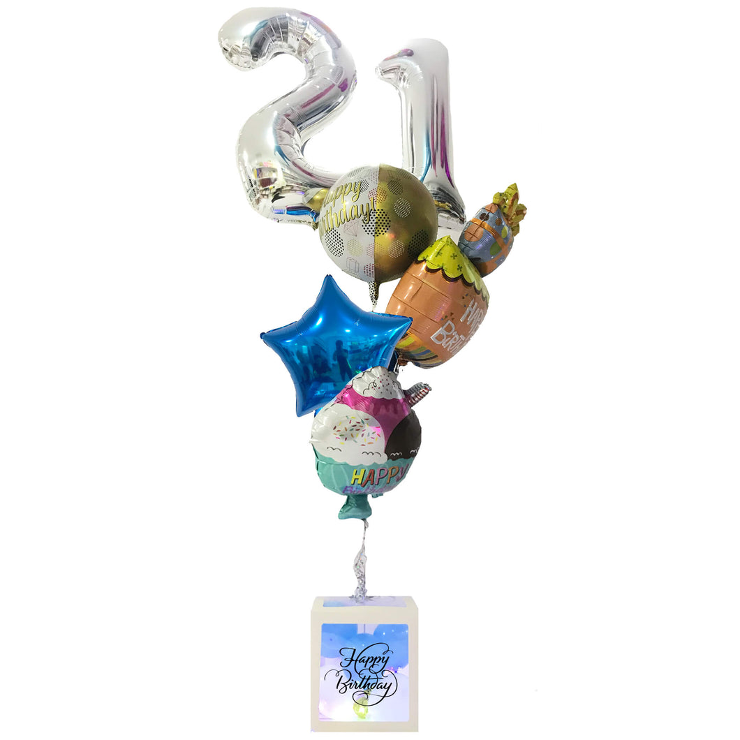 HAPPY BIRTHDAY BOX BOUQUET w TWO NUMBER SELECTION