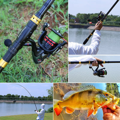 Fishing Rod Combos with Telescopic Fishing Pole Spinning Reels