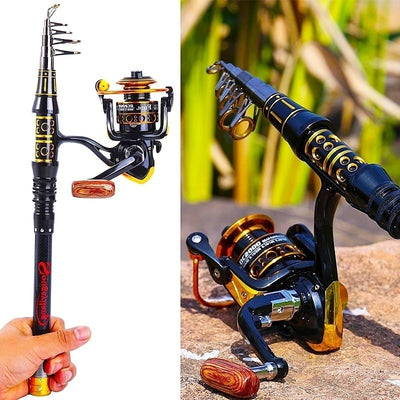 1.5-2.7m Fishing Kit Spinning Reel Combo with Fishing Lure Line Float Fishing Tackle
