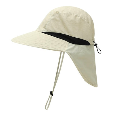 Portable UV Protection Neck Cover Sun Hat With Chin Strap