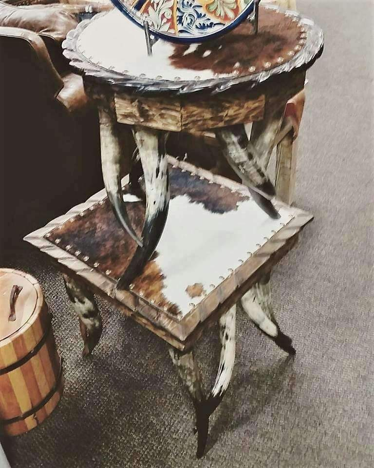 Horn Cowhide Round End Table Your Western Decor Your Western Decor Llc