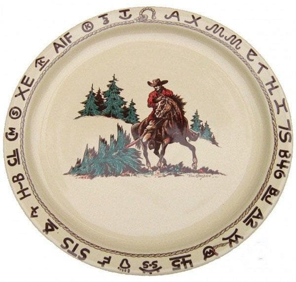 Branded Cowboy Christmas Western Serving Plate Round China Platter Your Western Decor Llc
