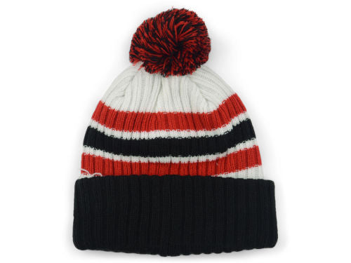 New Era Blank Ribbed Cuff Pom Knit - White/Black/Red