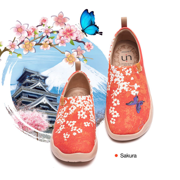 Sakura Art Painted Walking Shoes