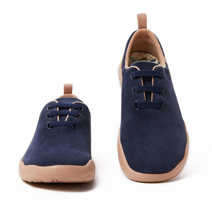 Segovia Deep Blue Cow Suede Lace-up Shoes Men