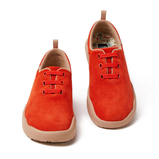 Segovia Red Cow Suede Lace-up Shoes Women