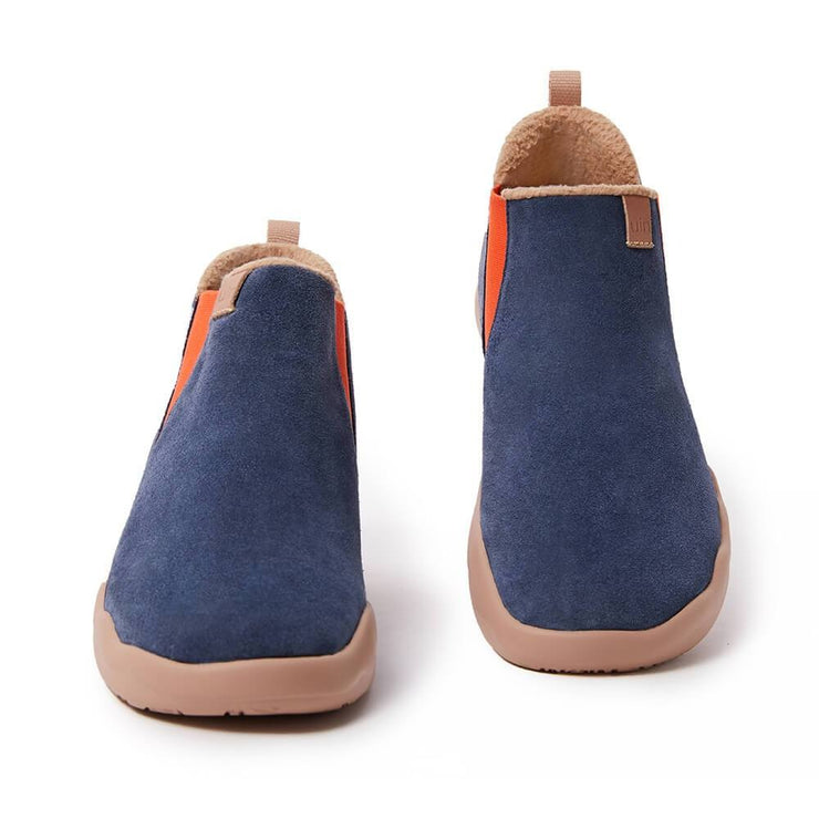 UIN Footwear Kid (Pre-sale) Granada Deep Blue Cow Suede Boots Kid Canvas loafers