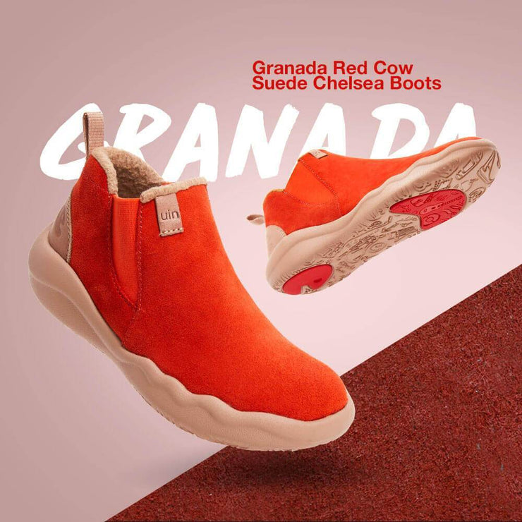 UIN Footwear Kid (Pre-sale) Granada Red Cow Suede Boots Kid Canvas loafers