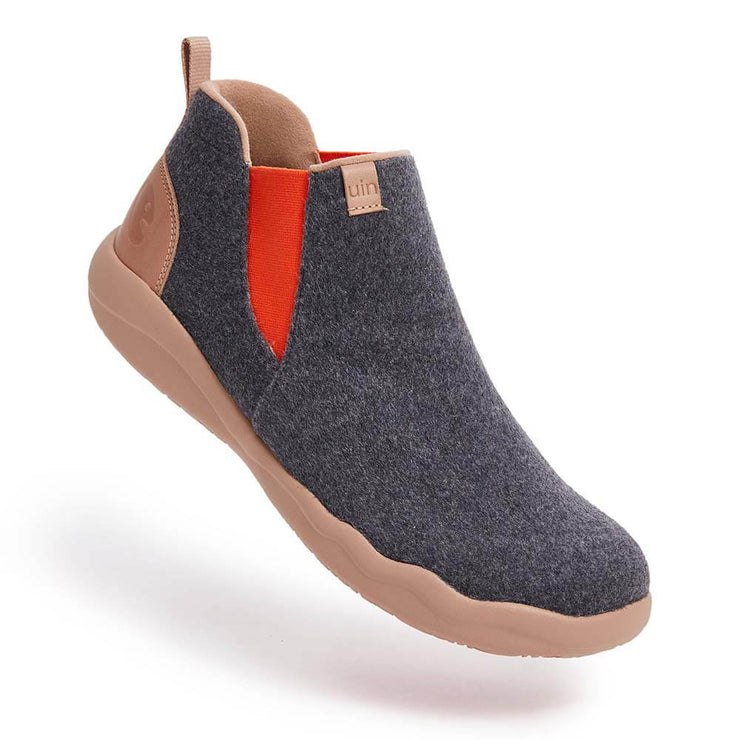 UIN Footwear Men Granada Deep Grey Wool Boots Men Canvas loafers
