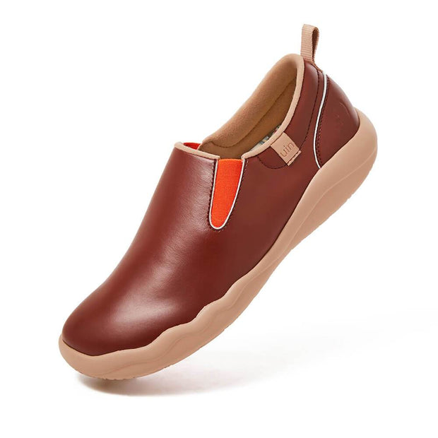 UIN Footwear Men (Pre-sale) Cuenca Burgundy Split Leather Men Canvas loafers