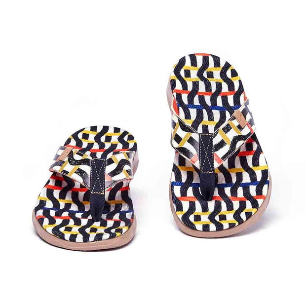 UIN Footwear Men Weaving Line Men Majorca Flip Flops Canvas loafers