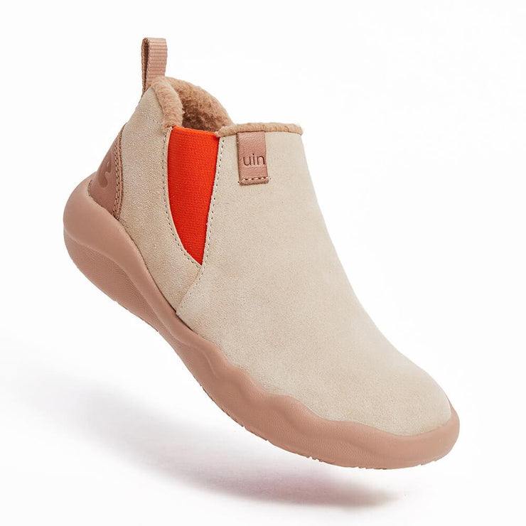 UIN Footwear Women (Pre-sale) Granada Beige Cow Suede Boots Women Canvas loafers