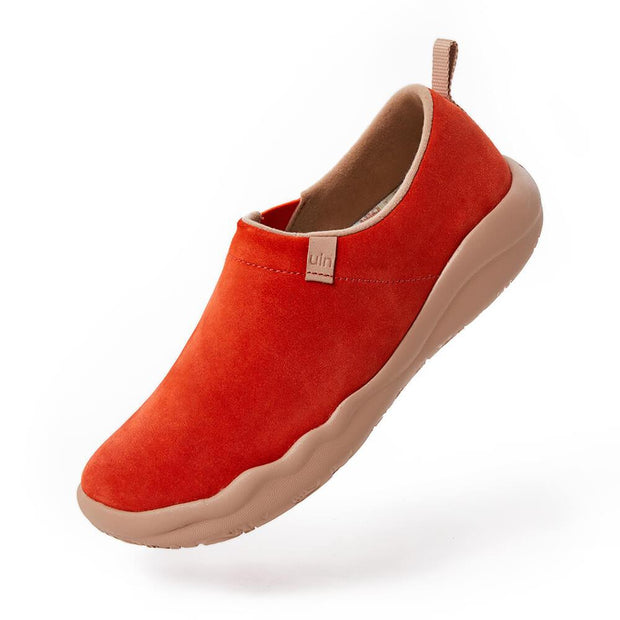 UIN Footwear Women (Pre-sale) Toledo II Orange Red Cow Suede Canvas loafers
