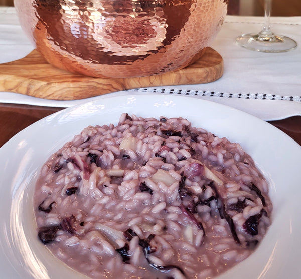 Italian risotto with radicchio, pancetta, taleggio and red wine