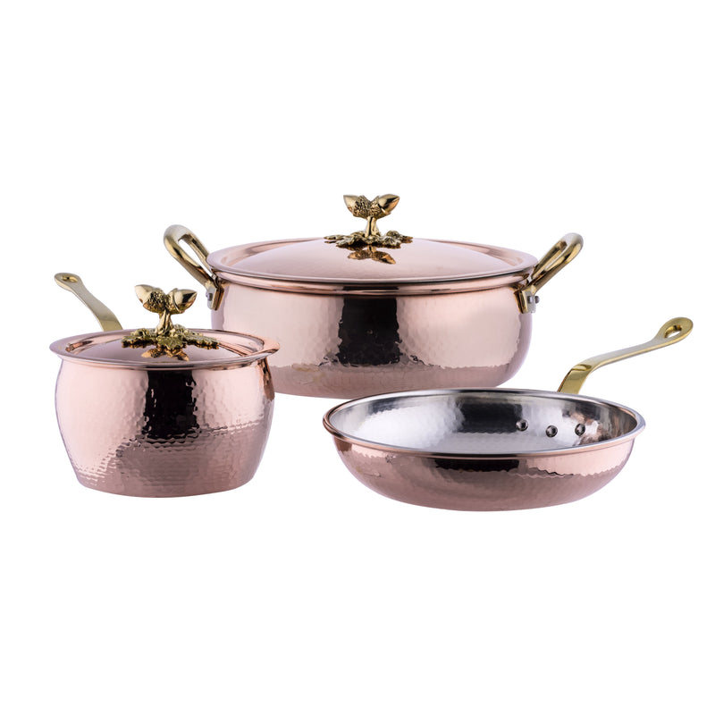 Copper cookware set. Hand-hammered copper with tin lining. Essential 5 piece set with braiser, saucepan, and fry pan