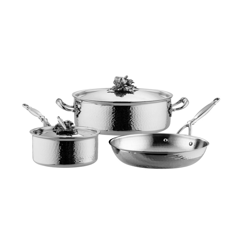 Stainless steel cookware set. Hand hammered, clad stainless steel