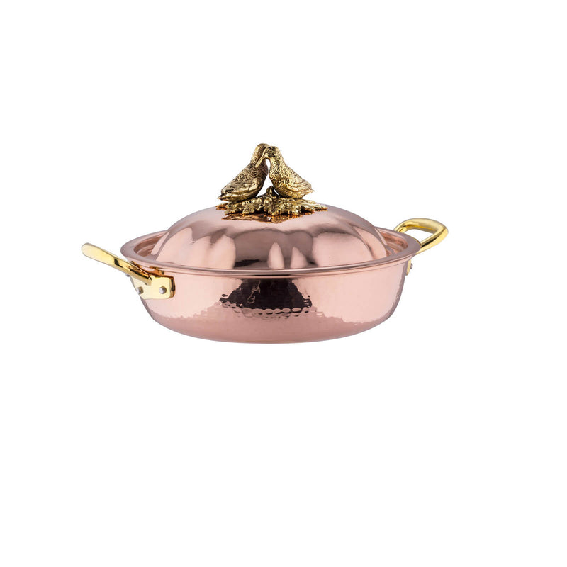 Copper low braiser with domed lid, decorated with lovebirds on top