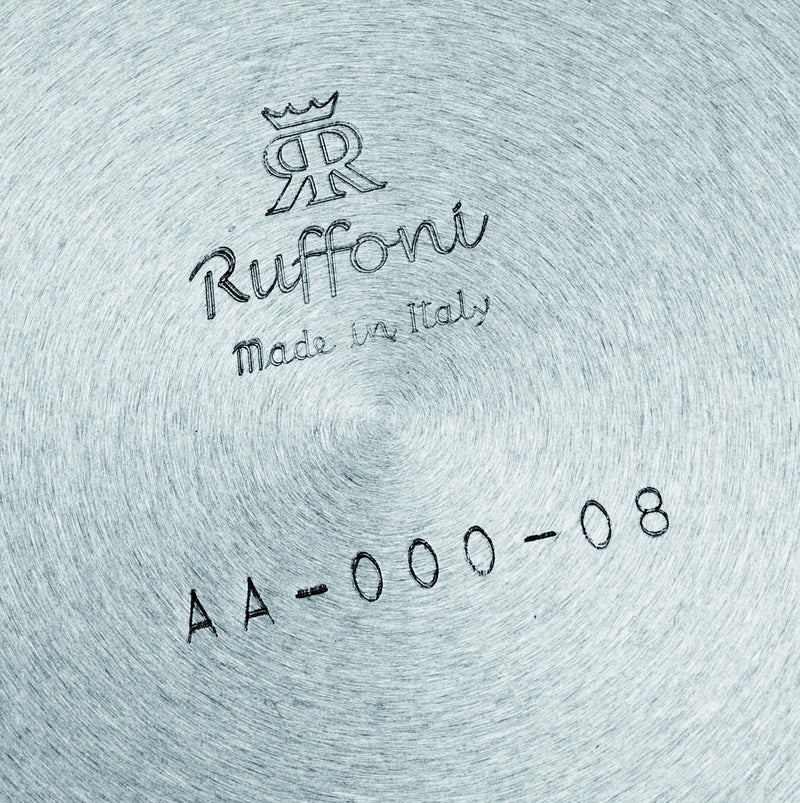 Ruffoni logo on bottom of stainless cookware