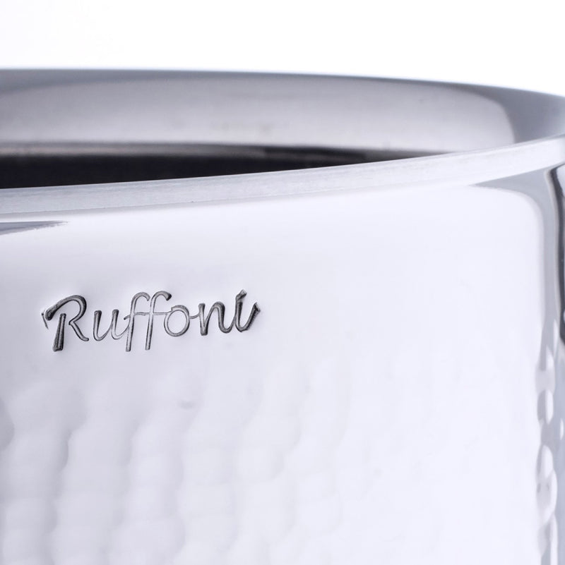 Ruffoni engraving on the outside of the stainless steel stockpot