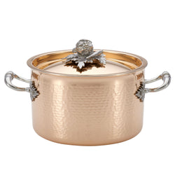 Hand-hammered, copper saucepot with stainless steel lining from Ruffoni